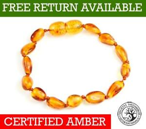 Genuine-Baltic-Amber-BEAN-Small-to-Large-Bracelet-Anklet-Knotted-Beads-all-Sizes