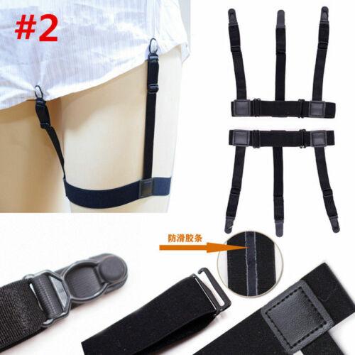 Mens T Shirt Stays Suspender Leg Holders Elastic Garter Non-slip Locking Clamps