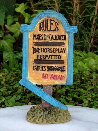 Miniature Dollhouse FAIRY GARDEN ~ Set 3 Pixie ENCHANTED FOREST Signs Rules Play