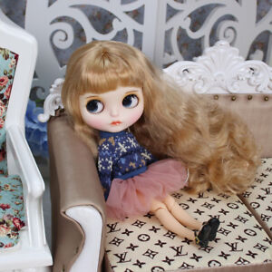 Blythe Nude Doll from Factory Silver Curly Hair Make-up Eyebrow Sleeping Eyes