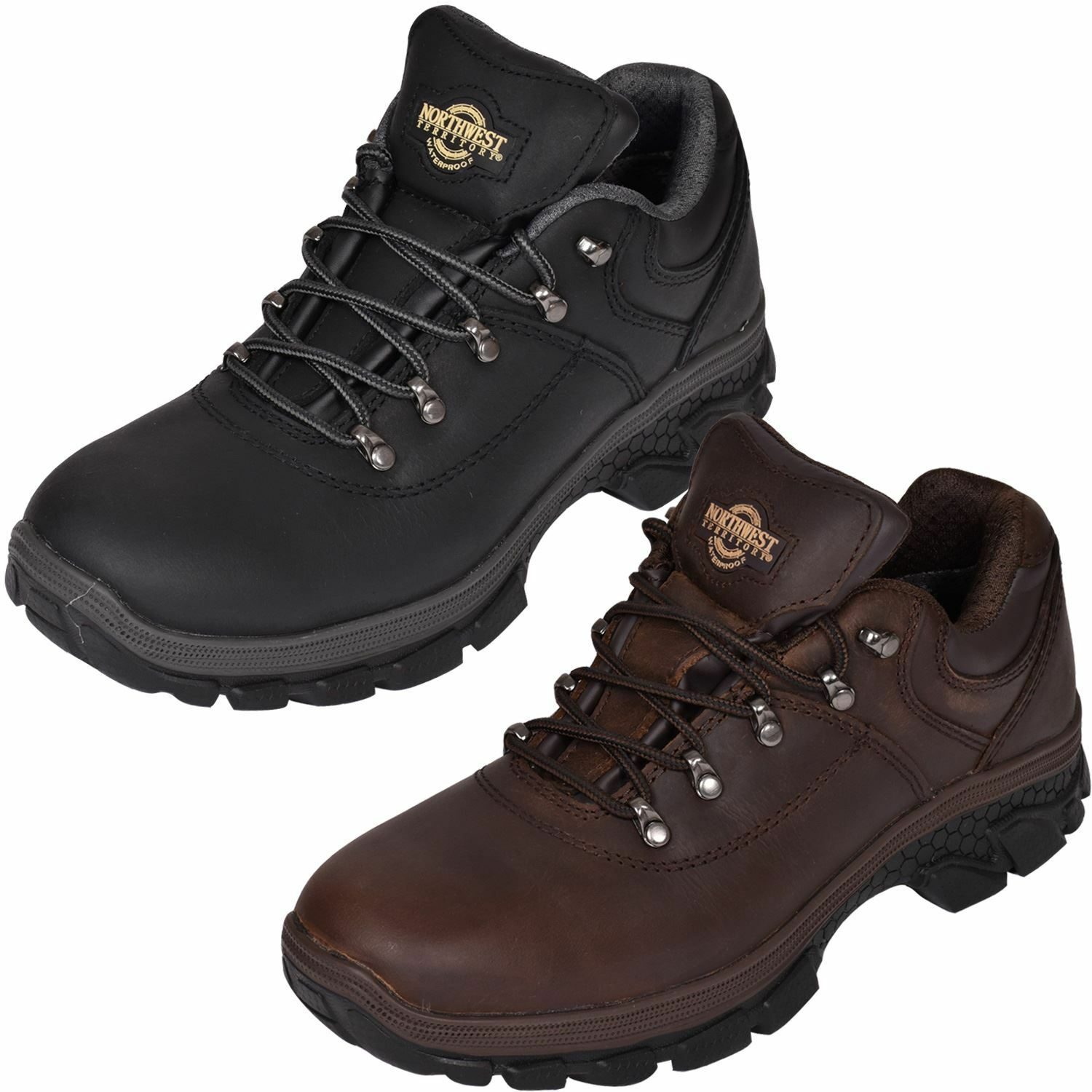 NORTHWEST Mens Leather Hiker Trainer Walking Trail Waterproof Ankle Boots Size