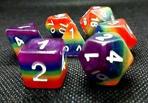 RPG Würfel Set 7-teilig Poly DND Rainbow dice4friends w4-w20 Rollenspiel HD Top