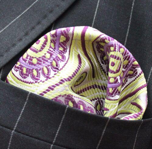 Hankie Pocket Square Handkerchief Lime /& Purple Roundel