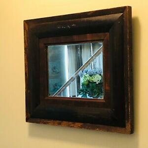 """Antique wood framed mirror farmhouse dark stain country 21"""" x 19"""" primitive"""