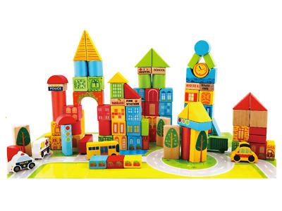 City Transportation Wooden Building Blocks 100 pc