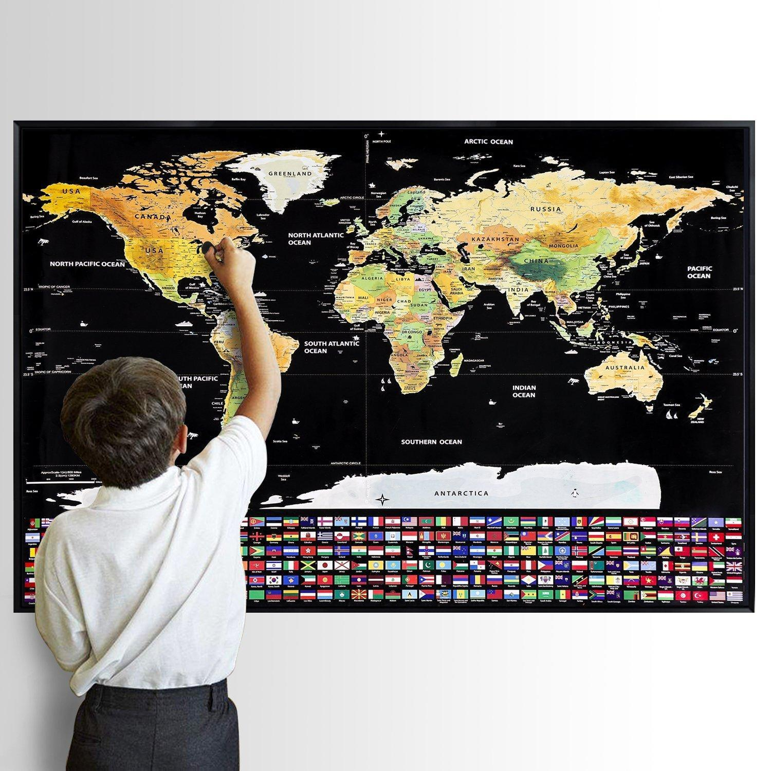 National Geographic Scratch Off World Map Poster 82 X 59cm Travel