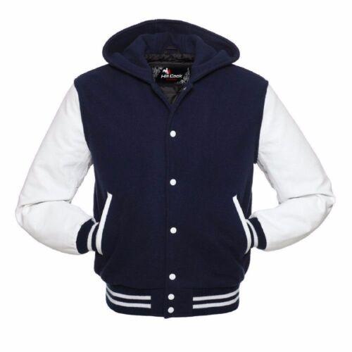 Navy Blue White Letterman Varsity Hoodie Jacket Wool With Real Leather Sleeves