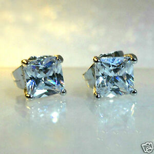 Men-039-s-square-7mm-simulated-diamond-white-gold-filled-stud-earrings-UK