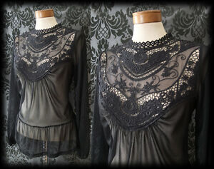 Gothic-Black-Lace-Bib-Detail-VICTORIAN-GOVERNESS-Sheer-Blouse-8-10-Vintage