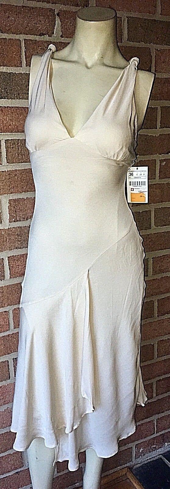 159 ZARA Switzerland Halter Slip Dress Wedding Party Asymmetrical Hem Ivory 4