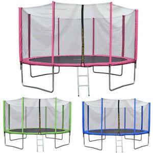 JAWINIO 305cm Trampolin Outdoor Gartentrampolin Garten Sicherheitsnetz Netz pink