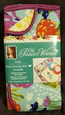 "Pioneer Woman Celia Design Dish Drying Mat Reversible 18/""x 24/"""