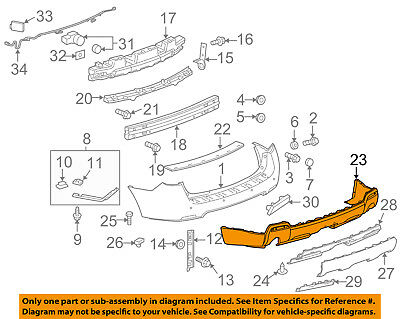 10-15 Terrain Rear Lower Bumper Cover Valance w// Chrome Pkge GM1195116 25818245