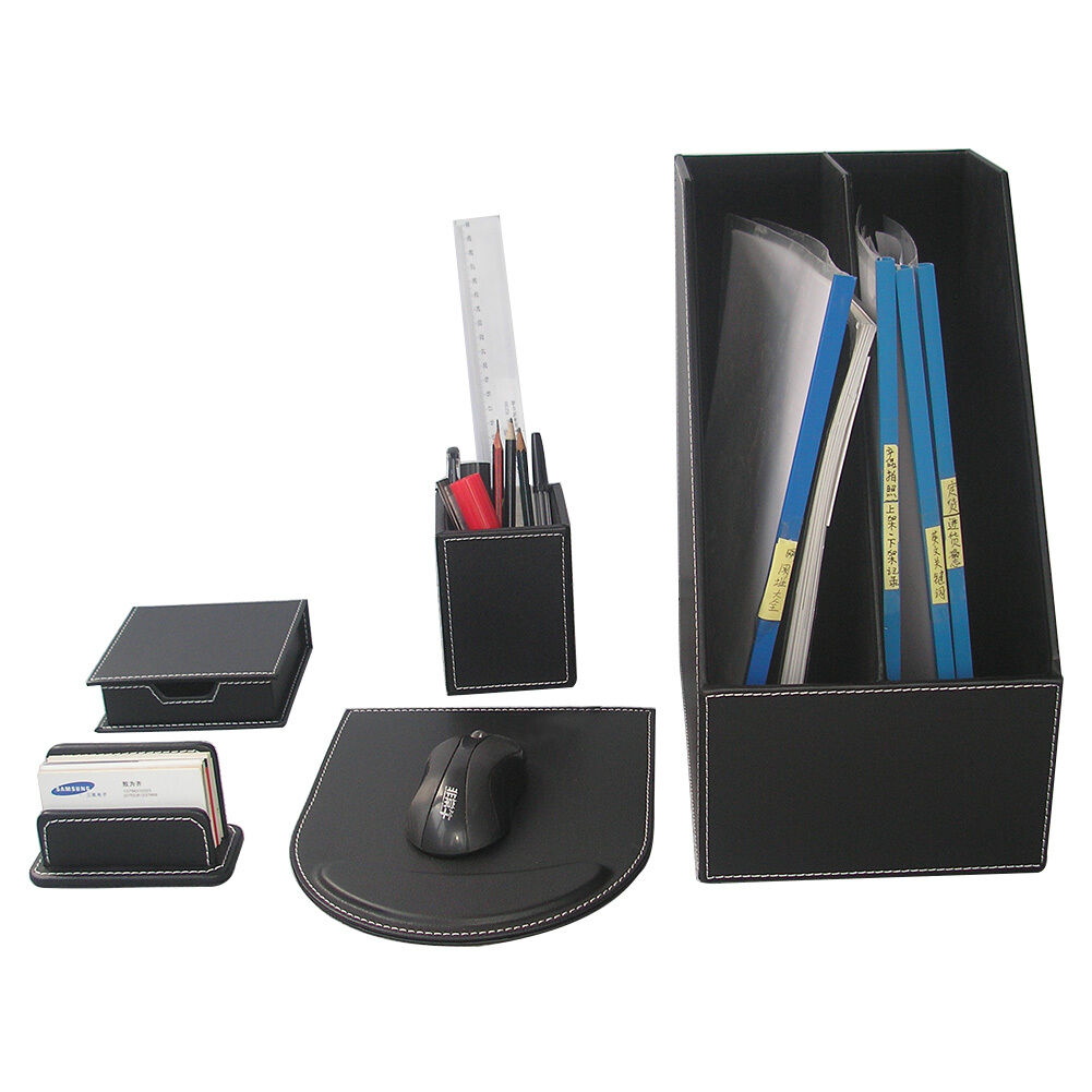 5 PCS SET Office Desk Organizer Set Files Cabinet Card Pencil Holder Mouse Pad