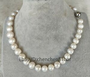 Charme-kultiviert-11-12mm-weisse-Suesswasser-Perlenkette-17-5-Zoll-Magnetverschluss