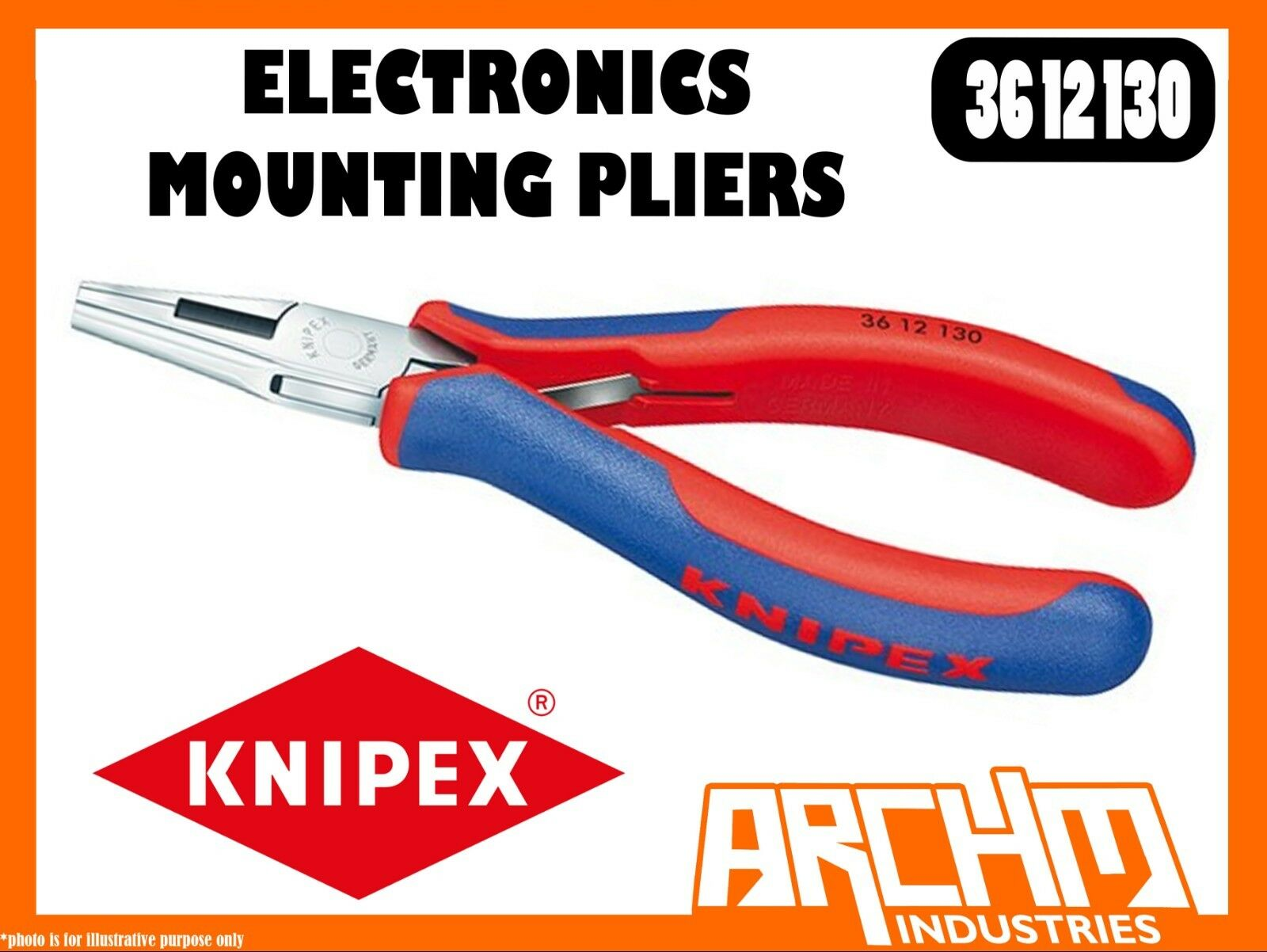 KNIPEX 3612130 - ELECTRONICS MOUNTING PLIERS - 130MM - MULTI-COMPONENT GRIPS