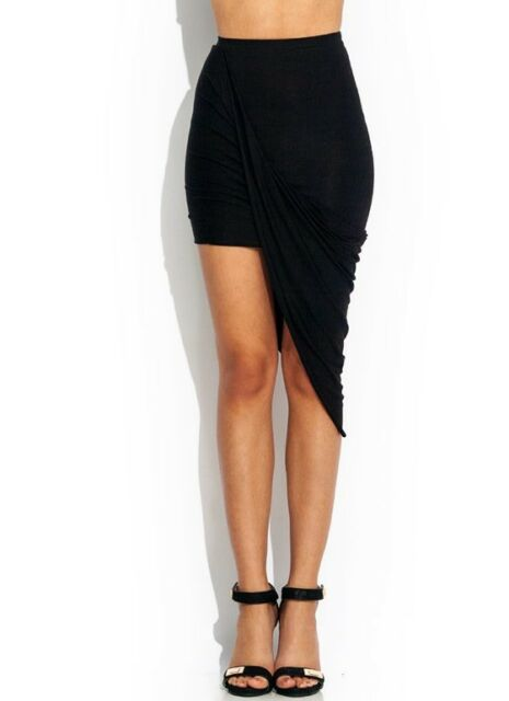 New ! Popular Trends Black Rayon Drape Knotted Asymmetrical Skirt S M L