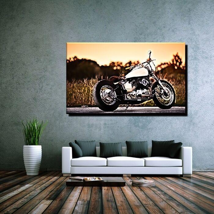 LEINWAND BILD ER XXL POPKunst YAMAHA 650 CHOPPER HARLEY MOTORRAD ABSTRAKT -150x90