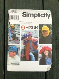 Simplicity 7356 Unisex Hats Mittens Booties Vest Size S M L Uncut Patterns