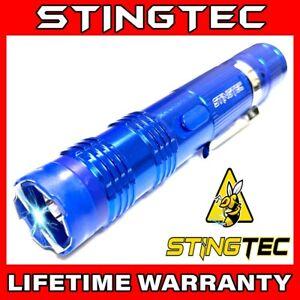 Tactical Self Defense Stun Gun BLUE Metal 550 BV Rechargeable LED Flashlight