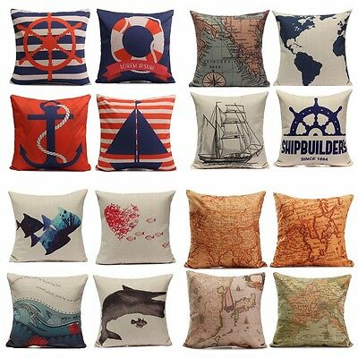 European Style Navigation Ocean Cushion Cover Throw Pillow Case Home Car Decor
