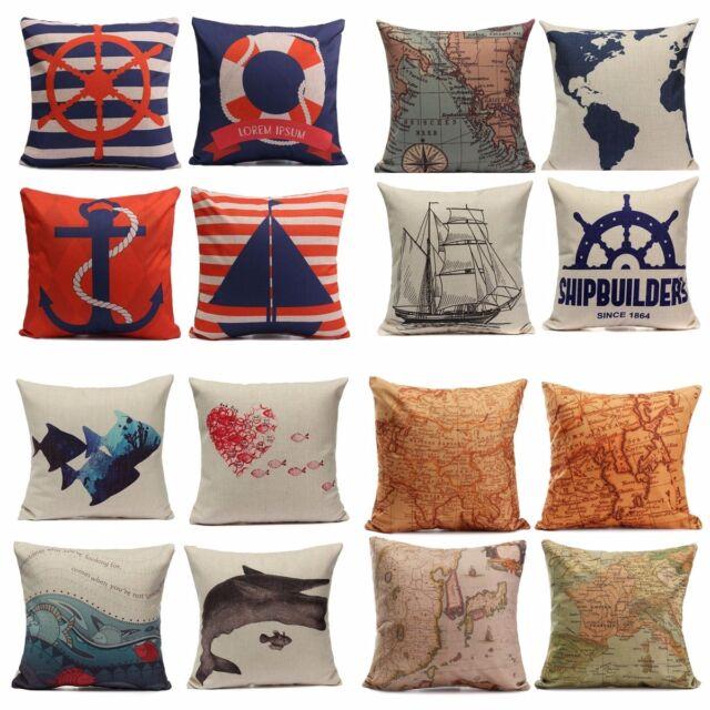 European Style Navigation Ocean Cushion Cover Throw Pillow Case Home Car Decor