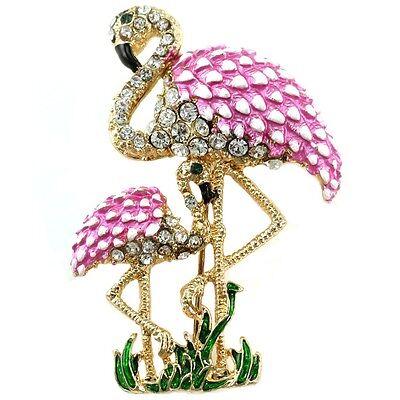 Pretty Pink Flamingo Bird Crystal Rhinestone Brooch Pin
