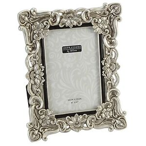 Silver Crystal Flower Design Photo Frame4 Sizes Avail4x6 5x7