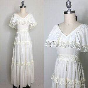 Vintage-70s-Swiss-Dot-Prairie-Dress-Size-Extra-Small