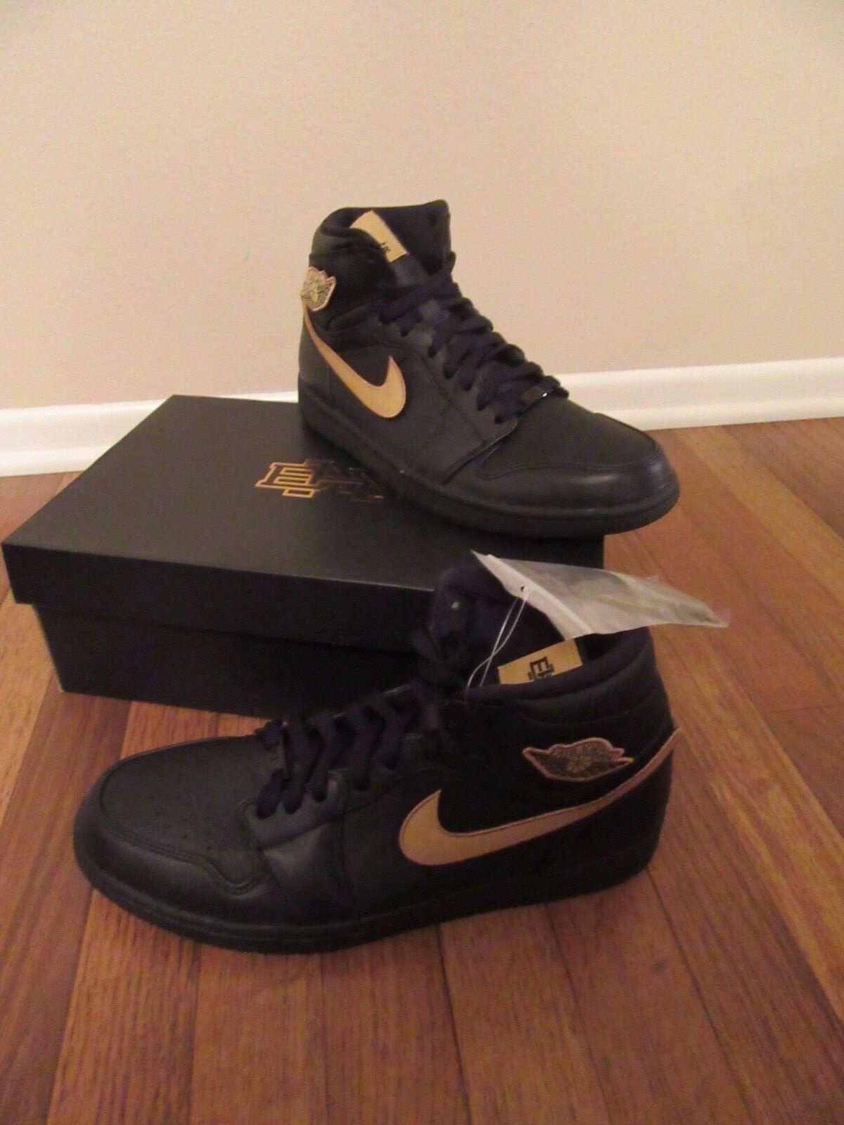 Nike Air Jordan 1 Retro High BHM Patch Size 11.5 Black gold 908656 001 NEW NIB