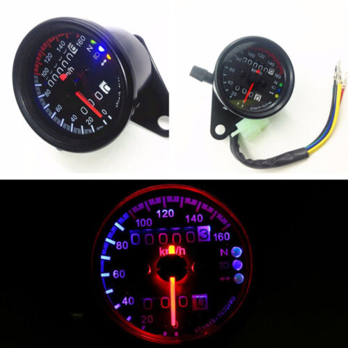 Universal 12V Motorcycle LED KMH Odometer Speedometer Gauge Meter For Honda Cafe