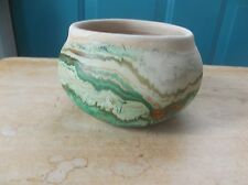 Small Nemadji Pottery Tan with Green and Orange Swirl Bowl Planter