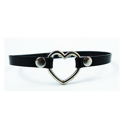 Handmade Stud Gold Silver Heart Choker Jewelry Real Leather Collar Necklace