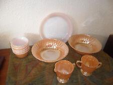 VINTAGE FIRE KING PEACH LUSTRE WARE Bowls,Pie Plate, Custards,Creamer/Suger~FS&H