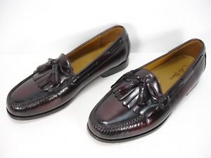 f40ea25b790 Image is loading COLE-HAAN-C02692-BURGUNDY-LEATHER-KILTIE-TASSEL-LOAFERS-