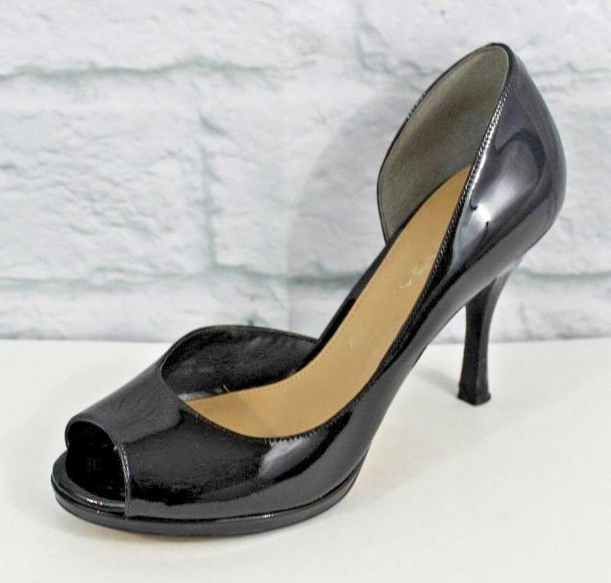 Via Spiga womens black patten leather pumps D'orsay peep toe half pumps leather heels size 7.5 c6939a