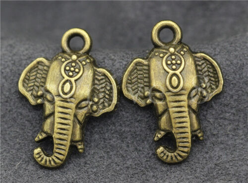 10//40//200pcs Antique Silver//Bronze Elephant Head Alloy Charms Pendant 24x17mm