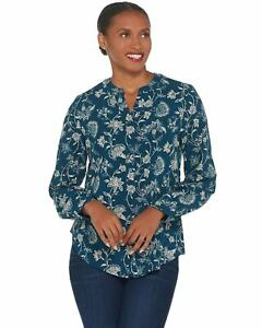 Denim-amp-Co-Womens-Stretch-Crepe-Y-Neck-Button-Front-Shirt-Small-Teal-A345253