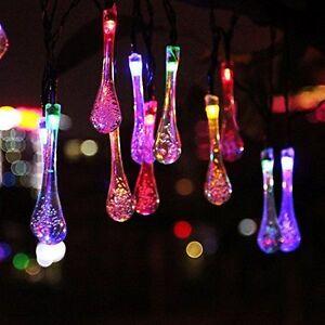 20-RGB-LED-Solar-Lichterkette-Wassertropfen-Partydeko-Solar-Garten-Lichtschlauch