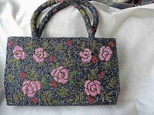 VINTAGE-HAND-CRAFTED-BEADED-MULTI-COLORS-ON-GRAY-MEDIUM-11-5-034-LONG-7-034-H-HAND-BAG