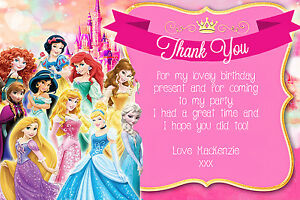 personalised disney princess birthday party thank you cards inc
