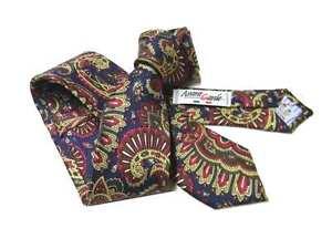 Cravatta-slim-blu-disegni-cashmere-rossi-gialli-elegante-prodotto-italiano-seta