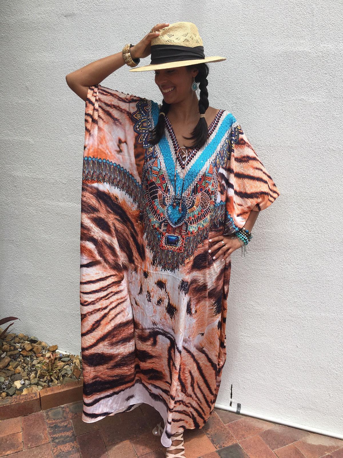 Embellished Kaftans Silk Blend O Size 14-16-18-20-22-24-26-28 Plus Size Kaftan