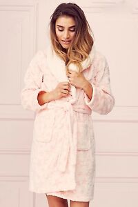 lipsy ladies pink stars hearts furry collar supersoft robe dressing gown ... 8a7fed5d8