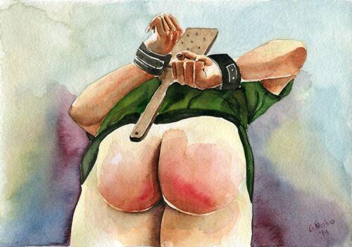 """PRINT of Original Art Work Watercolor Painting Gay Male Nude /""""Spank me/"""""""
