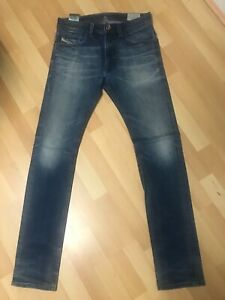 WORN-look-da-Uomo-Diesel-THAVAR-Stretch-Denim-Blu-0848Z-SLIM-W29-L32-H6-RRP-150