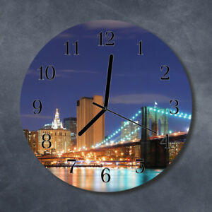 Glass-Wall-Clock-Kitchen-Clocks-30-cm-round-silent-Skyline-Bridge-Multi-Coloured