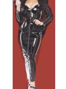 Black-PVC-Short-Peplum-Jacket-amp-ankle-length-skirt-set-Size-10-Length-40-034-Sexy
