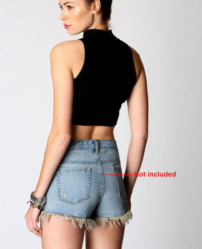 Casual Turtle Neck Women/'s Crop Top Sleeveless Fashion Girls T-Shirt Black//Red