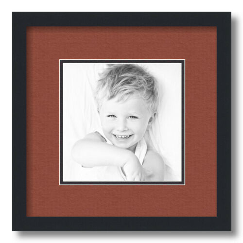"""8x8 Opening ArtToFrames Matted 12x12 Black Picture Frame with 2/"""" Double Mat"""